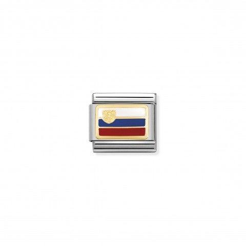 Link_Composable_Classic_Bandiera_Slovenia_Link_con_una_bandiera_Europea_in_Acciaio_e_Oro750