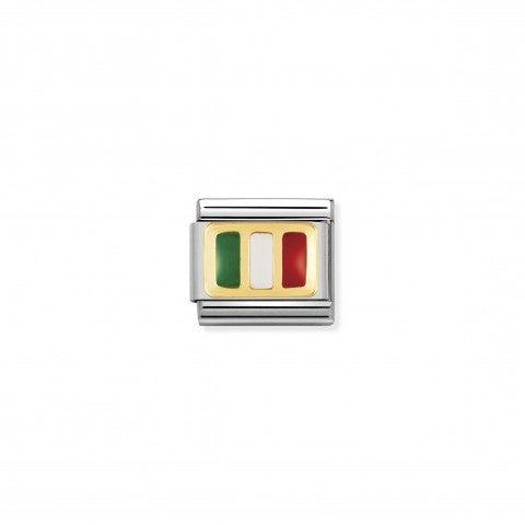 Link_Composable_Classic_Bandiera_Italia_Link_in_Acciaio_con_il_simbolo_della_bandiera_italiana