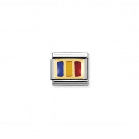 Link_Composable_Classic_Bandiera_Romania_Link_in_Acciaio_e_Oro750_con_una_bandiera_Europea