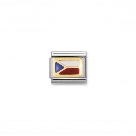 Link_Composable_Classic_Bandiera_Repubblica_Ceca_Link_con_bandiera_Europea_in_Acciaio_e_Smalto