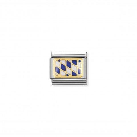 Link_Composable_Classic_Bandiera_Baviera_Link_bandiera_Europea_in_Smalto_bianco_e_blu