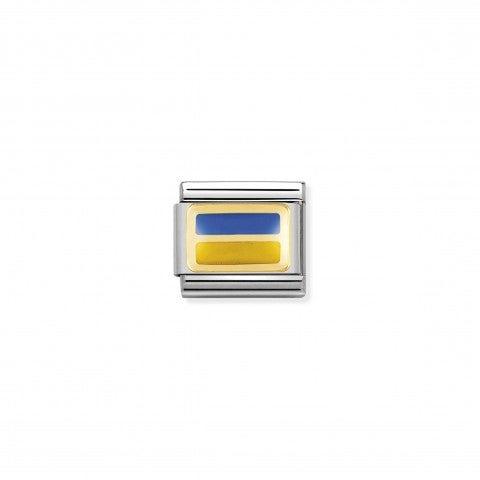 Link_Composable_Classic_Bandiera_Ucraina_Link_con_bandiera_europea_con_Smalto_blu_e_giallo