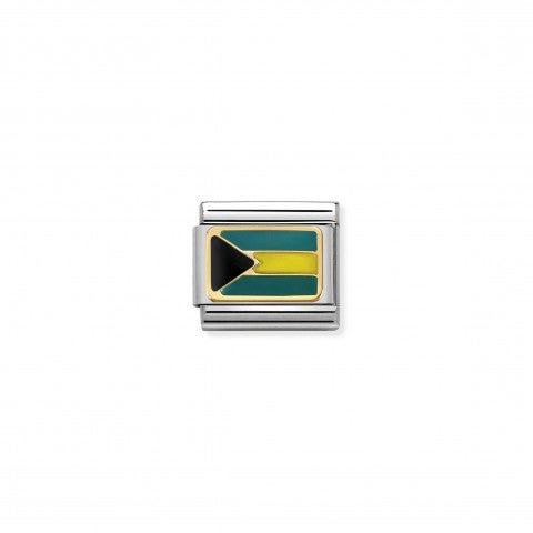 Composable_Classic_Link_Flag_Bahamas_Link_in_steel_with_gold_and_coloured_enamel
