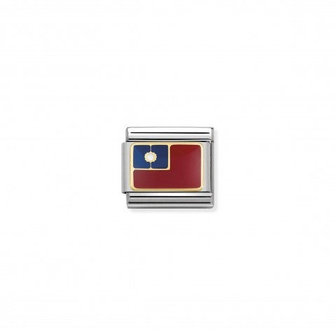 Composable_Classic_Link_Flag_Taiwan_Link_in_steel_with_gold_and_coloured_enamel