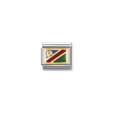 Composable_Classic_Link_Namibia_Flag__Original_stainless_steel_Charm_for_Nomination's_Composable_Classic_Bracelet._Flag_of_Namibia_in_18K_gold_and_coloured_enamel._Made_in_Italy._Carry_your_travels_with_you_always._