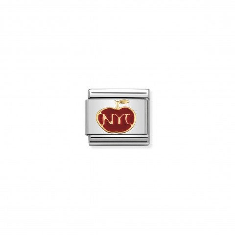 Link_Composable_Classic_La_Grande_Mela_NYC_Link_in_Oro_750_con_Smalto_colorato_Grandi_città