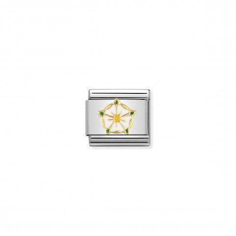 Link_Composable_Classic_Rosa_bianca_di_Yorkshire_Link_con_simbolo_inglese_in_Smalto_e_Oro750