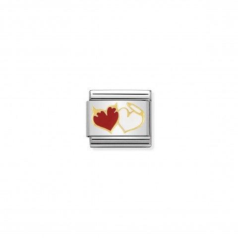 Link_Composable_Classic_Cuori_angelo_e_diavolo_Link_con_tema_amore_in_Acciaio_e_Oro750