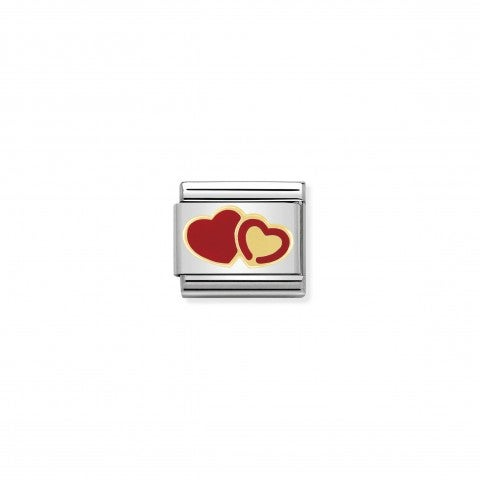 Link_Composable_Classic_Doppio_cuore_in_serie_Link_con_simbolo_amore_in_Acciaio_e_Oro750