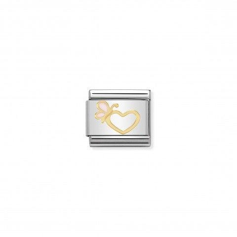 Link_Composable_Classic_Fiore_con_farfalla_Link_in_Smalto_bianco_con_simbolo_a_tema_amore