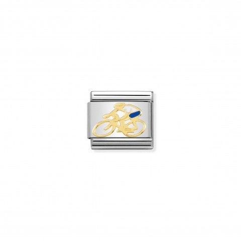 Link_Composable_Classic_Ciclista_bianco_link_in_acciaio_oro_giallo_con_simbolo_sport