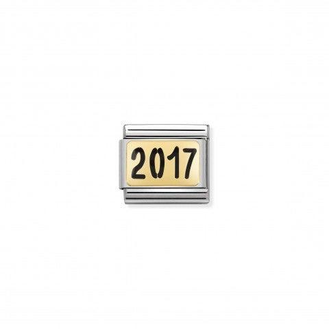Link_Composable_Classic_scritta_2017_Link_con_anno_da_ricordare_in_Smalto_e_Oro_750_