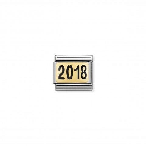 Link_Composable_Classic_scritta_2018_Link_con_anno_da_ricordare_in_Smalto_e_Oro_750_