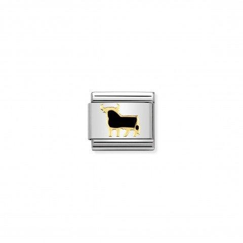 Link_Composable_Classic_Toro_Spagnolo_Link_con_simboli_dei_paesi_in_Acciaio_e_Smalto_nero