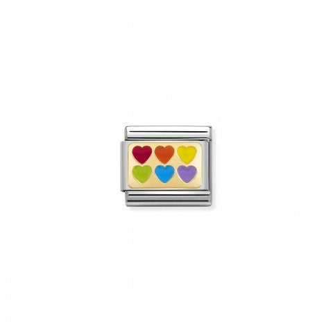 Composable_Classic_Link_Rainbow_Hearts_Link_with_Love_theme_in_gold