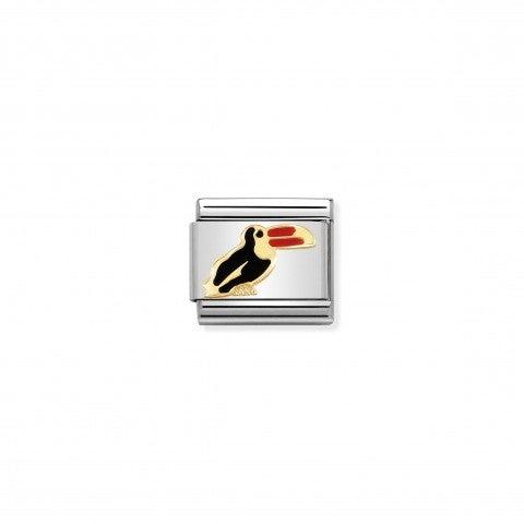 Link_composable_classic_Tucano_Link_in_oro_750_con_simbolo_animale_del_Tucano