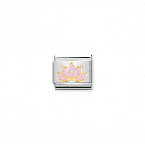 Composable_Classic_Lotus_Flower_Link_Link_in_stainless_steel_and_gold_with_symbol