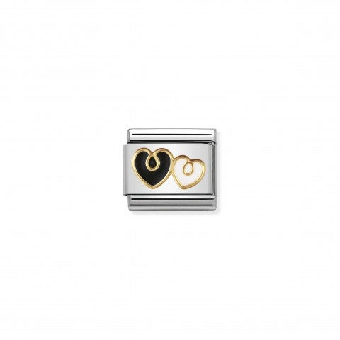 Composable_Classic_Link_Double_Hearts_black_and_white_Composable_Double_Hearts_Link_in_18K_gold_and_enamel