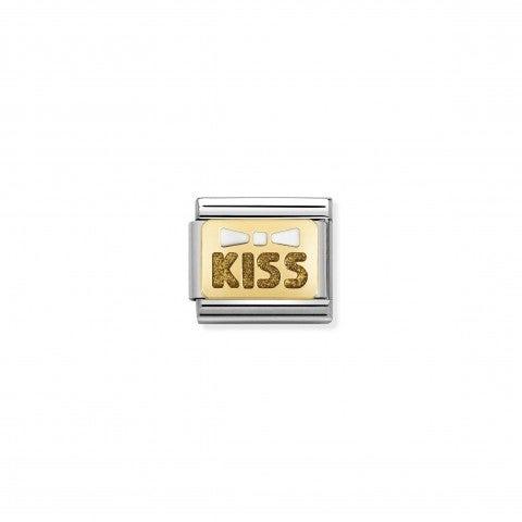Link_Composable_Classic_fiocco_e_kiss_Link_decorativo_in_acciaio_e_oro_con_dettagli_in_smalto
