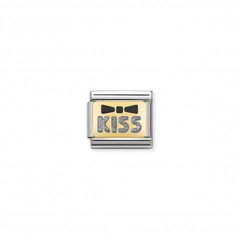 Link_Composable_Classic_kiss_argento_Link_decorativo_in_acciaio_e_oro_con_fiocco_e_scritta