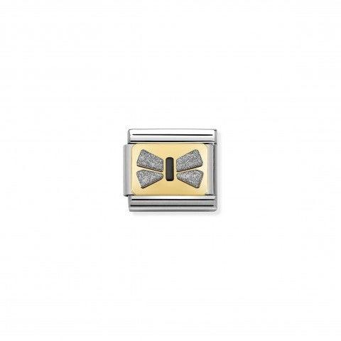 Link_Composable_Classic_fiocco_argento_Link_in_acciaio_e_oro_con_smalto_glitter
