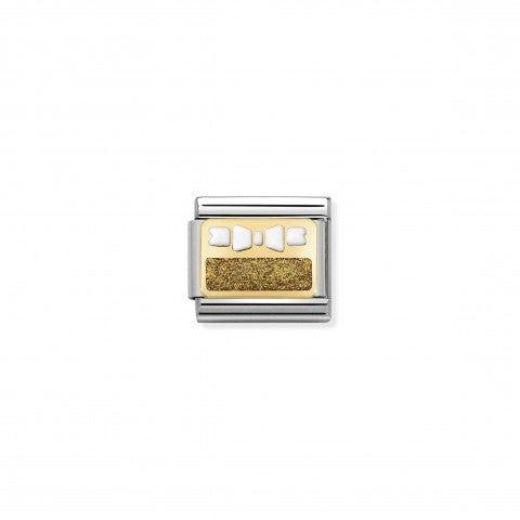 Link_Composable_Classic_fiocco_e_placca_Link_in_acciaio_con_smalto_glitter_oro