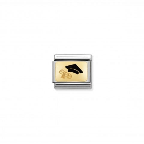 Composable_Classic_Graduation_Cap_Link_Link_in_stainless_steel,_18K_gold_and_black_enamel