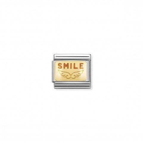 Link_Composable_Classic_Smile_Link_in_Acciaio_con_placca_in_Oro_e_smalto