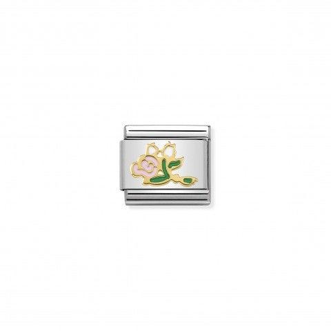 Link_Composable_Classic_Mazzo_di_Rose_rosa_Simbolo_bouquet_in_Oro_750_e_Smalto_colorato