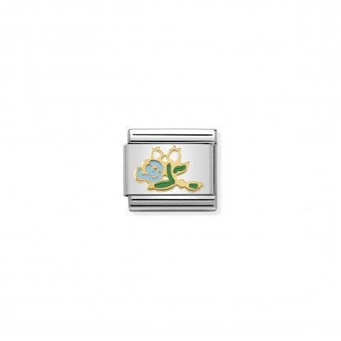 Link_Composable_Classic_Mazzo_di_Rose_celesti_Simbolo_bouquet_azzurro_in_Oro_750_e_Smalto_colorato