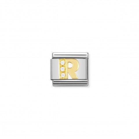 Link_Composable_Classic_Lettera_R_in_Oro_e_Pietre_Lettera_R_dell'alfabeto_in_Acciaio_e_Zirconi