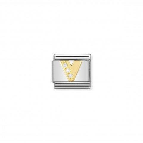 Link_Composable_Classic_Lettera_V_in_Oro_e_Pietre_Link_con_lettera_V_dell'alfabeto_in_Acciaio_e_Zirconi