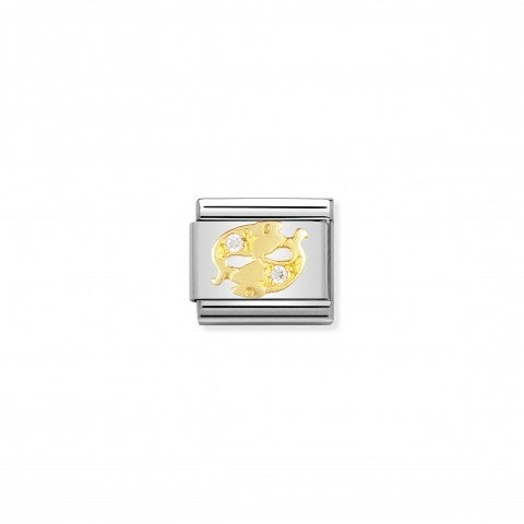 Link_Composable_Classic_con_Pietre_Pesci_Link_in_Oro_con_Cubic_Zirconia_Zodiaco