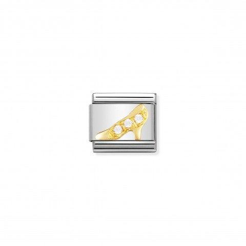 Link_Composable_Classic_Scarpa_bianca_Link_in_Oro_e_dettagli_in_Cubic_Zirconia_bianchi_Donna