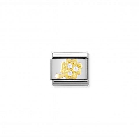 Link_Composable_Classic_Quadrifoglio_bianco_Link_in_Oro_e_dettagli_in_Cubic_Zirconia_bianchi_Fortuna