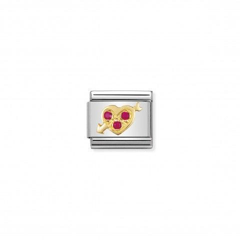 Link_Composable_Classic_Cuore_trafitto_rosso_Link_in_Oro_e_dettagli_in_Cubic_Zirconia_rossi_momenti_romantici