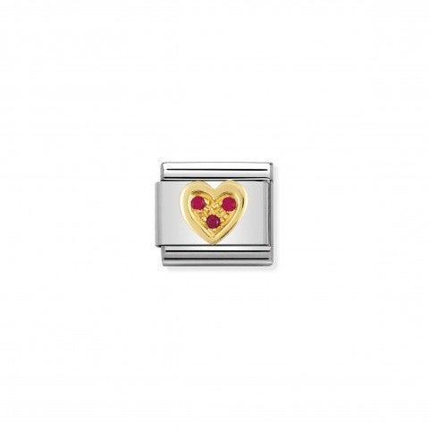 Link_Composable_Classic_Cuore_con_Pietre_rosse_Link_in_Oro_e_dettagli_in_Cubic_Zirconia_rossi_simbolo_amore
