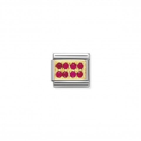 Link_Composable_Classic_con_Pietre_rosse_Link_in_Oro_750_e_Cubic_Zirconia_rossi