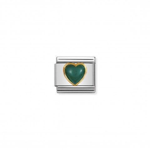 Link_Composable_Classic_cuore_con_Agata_verde_Link_in_Oro_750_e_Pietra_naturale