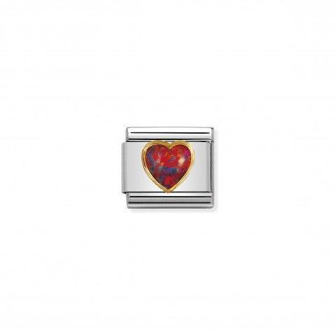 Link_Composable_Classic_cuore_con_opale_rosso_Link_in_Oro_750_e_Pietra_naturale