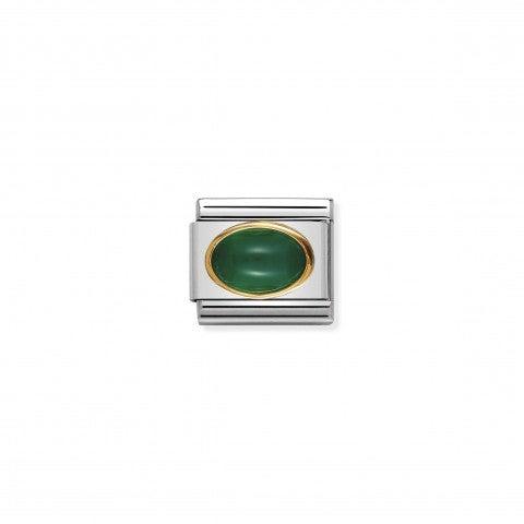 Link_Composable_Classic_in_Oro_e_Agata_verde_Link_in_Oro_con_Pietra_dura_naturale_e_colorata