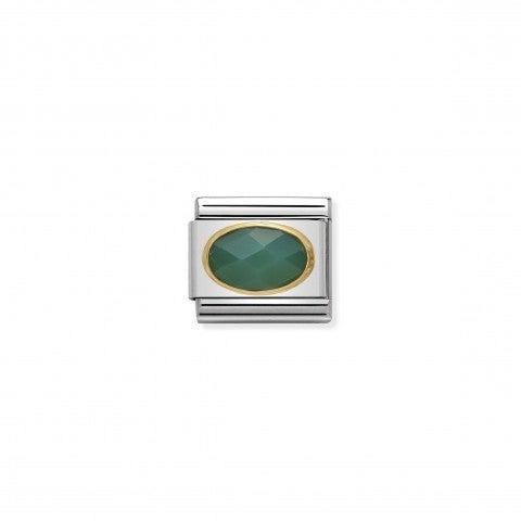 Link_Composable_Classic_in_Oro_con_Agata_verde_Link_in_Oro_con_Pietra_dura_naturale_e_colorata
