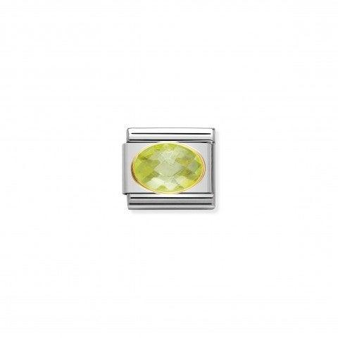 Link_Composable_Classic_argento_con_Pietra_verde_Link_in_Oro_750_con_Cubic_Zirconia