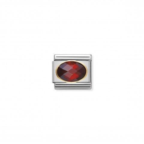Link_Composable_Classic_argento_con_Pietra_rosso_Link_in_Oro_750_e_Cubic_Zirconia_colore_rosso