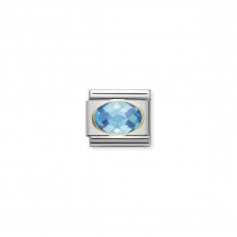 Link_Composable_Classic_argento_con_Pietra_azzurra_Link_in_Oro_750_con_Cubic_Zirconia_colorato