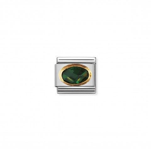 Link_Composable_Classic_argento_Pietra_verde_smeraldo_Link_in_Oro_750_e_Cubic_Zirconia_colorato