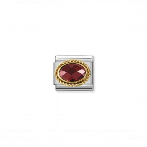 Composable_Classic_Link_in_Gold_with_red_and_oval_Stones_Link_in_18K_gold_and_faceted_Cubic_Zirconia