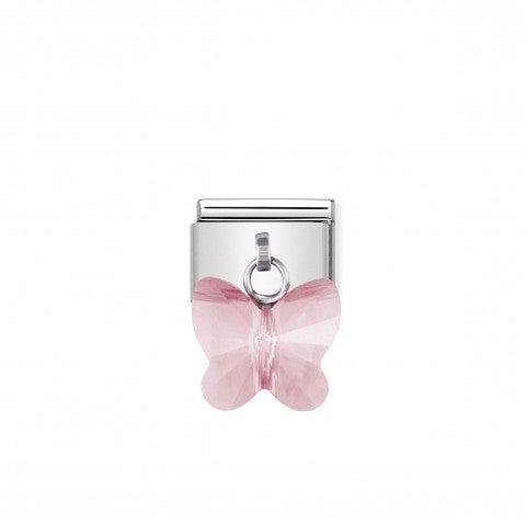 Composable_Classic_Link_with_light_pink_Butterfly_Butterfly_Link_in_stainless_steel_and_light_pink_Swarovski_Elements