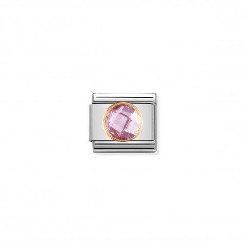Link_Composable_Classic_Pietra_rosa_tonda_in_Oro_Link_con_Cubic_Zirconia_sfaccettato_tondo_rosa