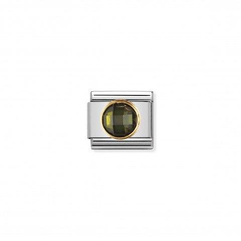 Link_Composable_Classic_Pietra_verde_tonda_in_Oro_Link_con_Cubic_Zirconia_sfaccettato_tondo_verde
